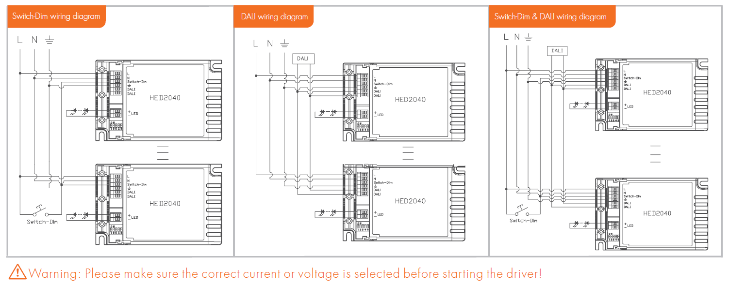HED2040 3 hed2040 a] constant current & voltage dali led driver (1*40w dali led driver wiring diagram at crackthecode.co